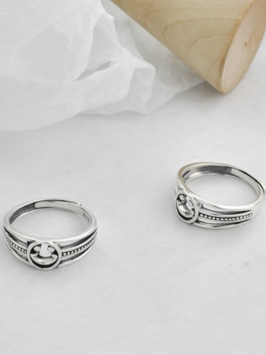 Vintage  Sterling Silver With Platinum Plated Fashion Smiley Free Size Rings