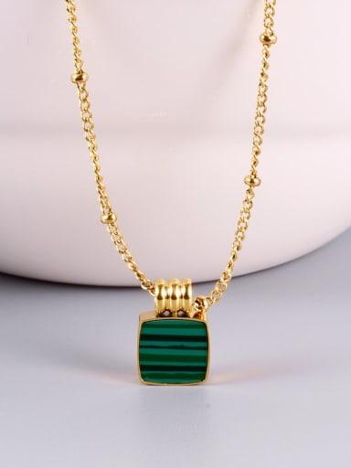 Titanium Malchite Green Square Minimalist Choker Necklace