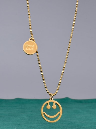 Titanium Bead Chain Face Minimalist Necklace