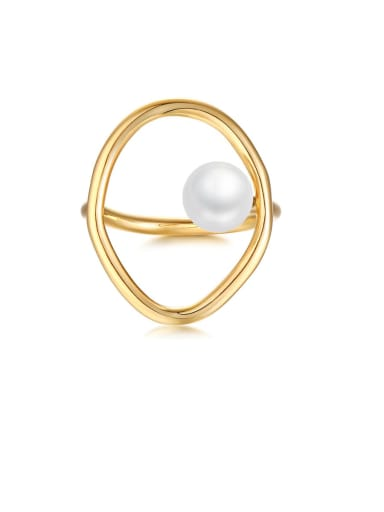 Copper Imitation Pearl White Hollow Oval Minimalist Band Ring