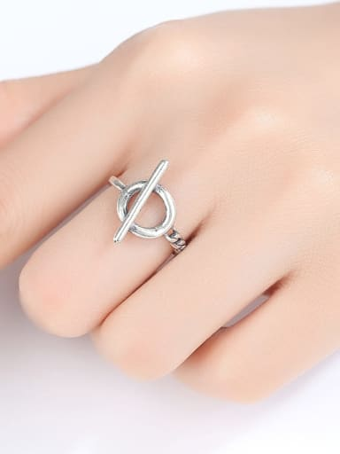 925 Sterling Silver Holow  Round Vintage Band Ring