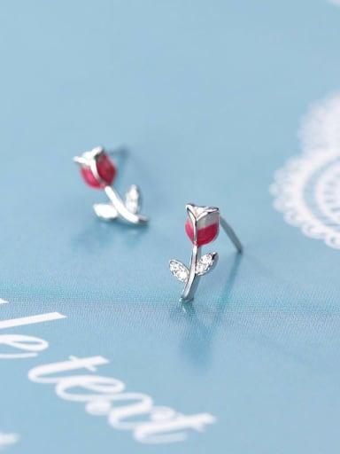 925 Sterling Silver Red Enamel Rose  Flower Cute Stud Earring