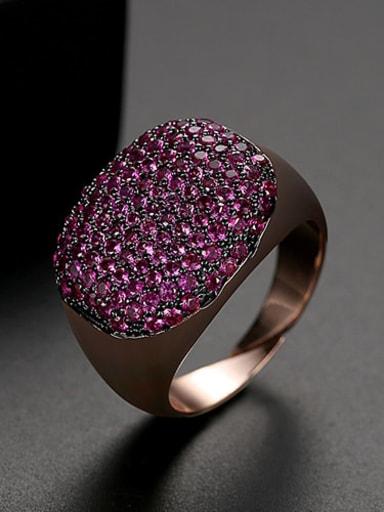 Red zirconium Copper Rhinestone Geometric Minimalist  Free Size Band Ring