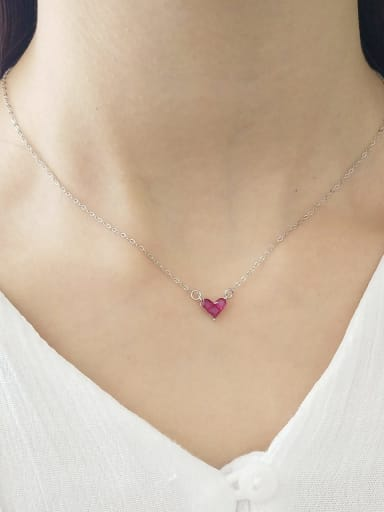 925 Sterling Silver Cubic Zirconia Red heart Necklace