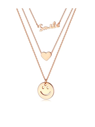 1589 rose gold necklace Titanium Letter Minimalist  Smiley   Multi Strand Necklaces