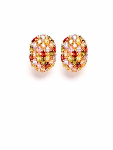 Copper Cubic Zirconia Multi Color Geometric Luxury Stud Earring