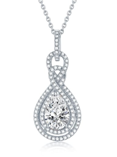 Platinum 925 Sterling Silver Cubic Zirconia Geometric Luxury pendant Necklace