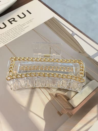 Transparent color 10cm Cellulose Acetate Alloy  Chain Vintage Geometric Jaw Hair Claw