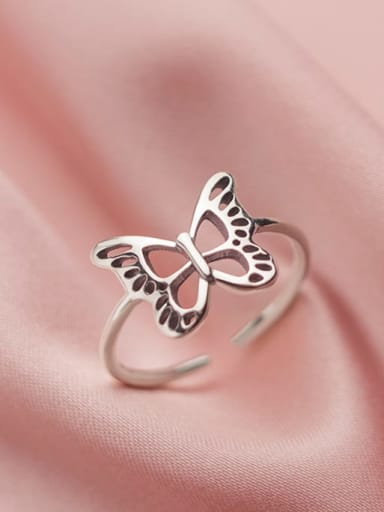 925 Sterling Silver Butterfly Vintage Midi Ring