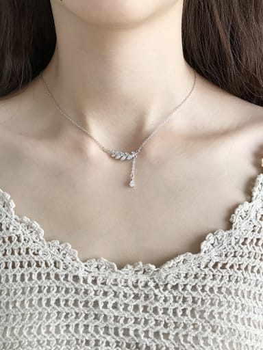 925 Sterling Silver Cubic Zirconia leaf Necklace