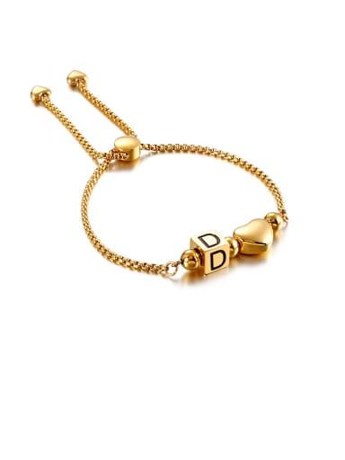 D Titanium Black Enamel  26 Letter Minimalist Adjustable Bracelet