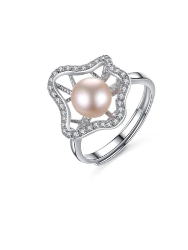 925 Sterling Silver Pink Freshwater Pearl fashion zircon flower special shaped band ring