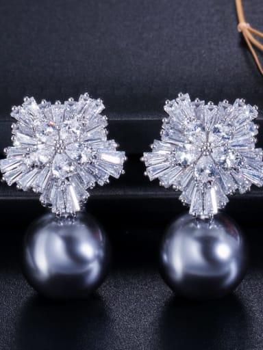 Grey Pearl Platinum ear pin Brass Cubic Zirconia Flower Luxury Drop Earring