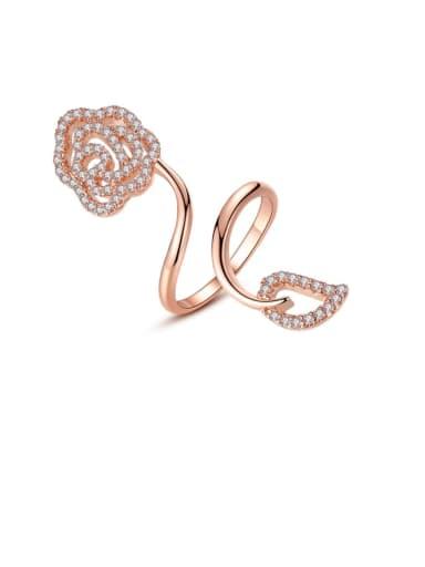 Copper Rhinestone Flower Minimalist Free Size Band Ring
