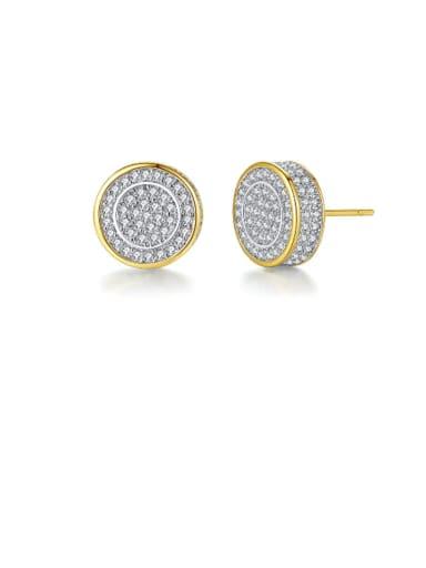 Copper Cubic Zirconia Round Minimalist Cluster Earring