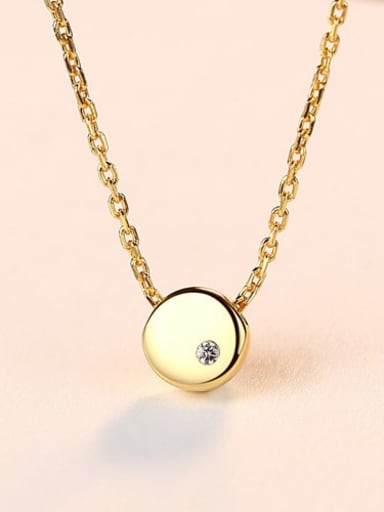18K gold 15D04 925 Sterling Silver Simple Smooth Round pendant  Necklace