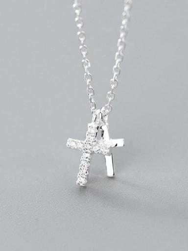 925 Sterling Silver Rhinestone White Cross Minimalist Regligious Necklace