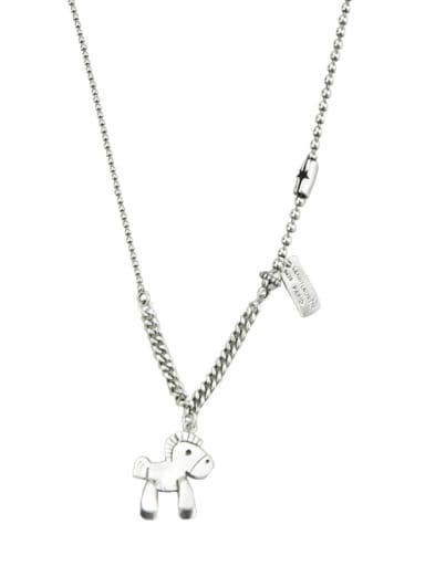 Vintage Sterling Silver With Platinum Plated Fashion Horse Power Necklaces