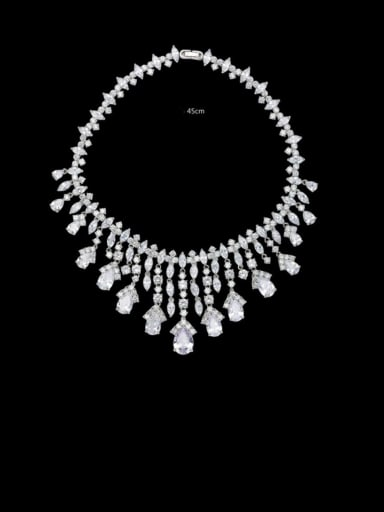 Copper Cubic Zirconia Tassel Luxury Necklace