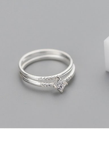 925 Sterling Silver Cubic Zirconia White Irregular Cute Stackable Ring