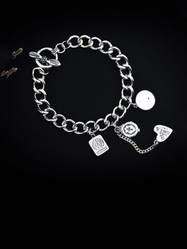 Vintage Sterling Silver With Simple Retro Hollow Chain Geometry Pendant Bracelets