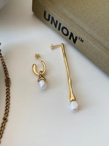 925 Sterling Silver Imitation Pearl Geometric Vintage Stud Earring