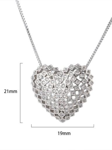 Platinum Copper Cubic Zirconia Dainty Hollow Heart  Pendant  Necklace