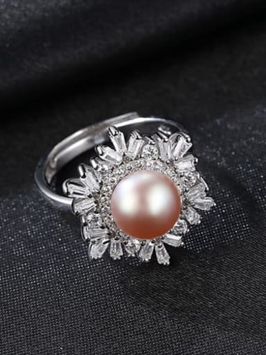 Purple 10A12 925 Sterling Silver Freshwater Pearl  Flower Trend Band Ring