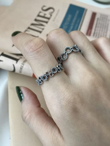 925 Sterling Silver Flower Vintage Band Ring
