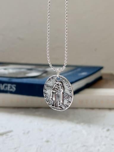 925 Sterling Silver retro head Coin Pendant Necklace