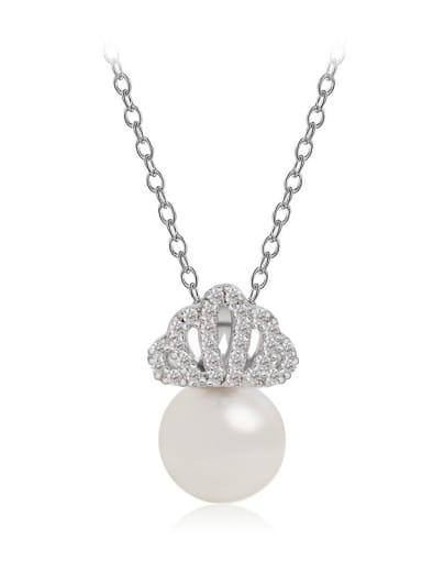 Copper  Dainty  Cubic Zirconia Crown Bead pendant Necklace