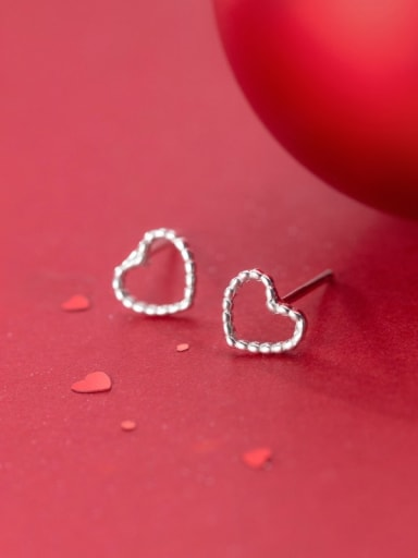 925 Sterling Silver With Platinum Plated Cute  Hollow Heart Stud Earrings