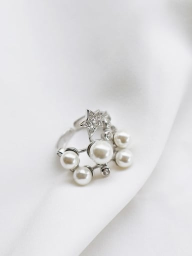 925 Sterling Silver Imitation Pearl White Star Dainty Band Ring
