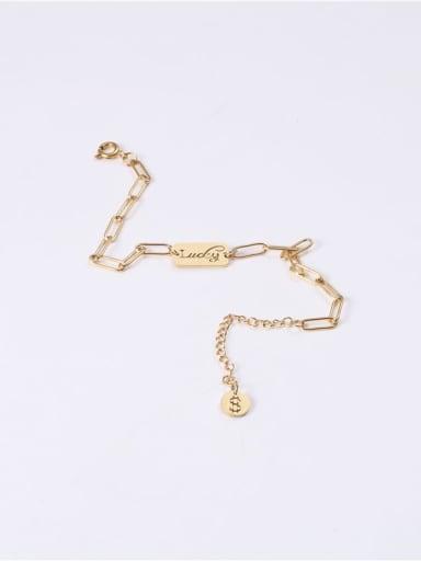 Titanium With Imitation Gold Plated Fashion Square Bracelets