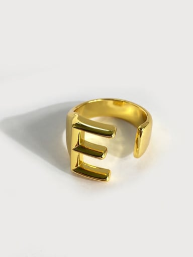 E Letters Copper Letter Minimalist  Free Size Band Ring