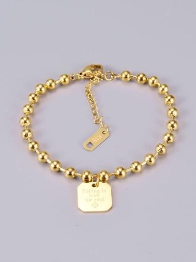 Gold bracelet square Titanium Bead Heart Classic Beaded Bracelet