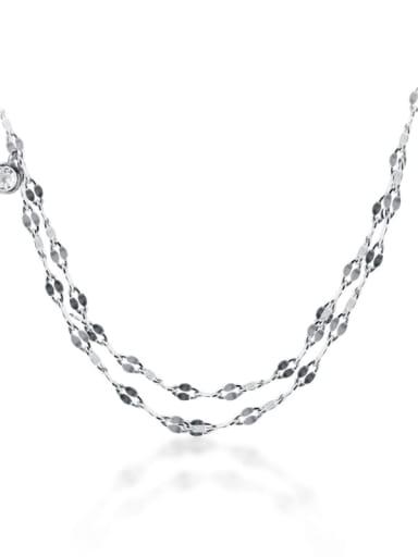 925 Sterling Silver Minimalist Multi  Chain Strand Necklace