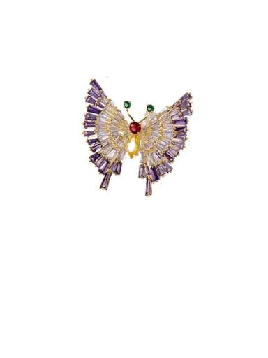 Golden Purple Diamond Copper Cubic Zirconia White Butterfly Cute Brooches