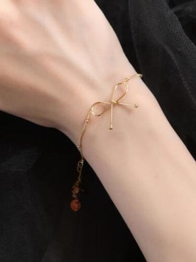 S26 Gold Bracelet Titanium Hollow Bowknot Minimalist pendant Necklace