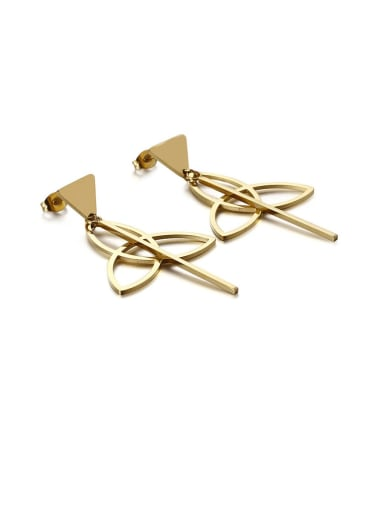 gold Stainless Steel Hollow Triangle Minimalist Drop Earring