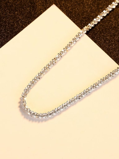 Platinum 14h01 925 Sterling Silver Geometric Minimalist Singapore Chain
