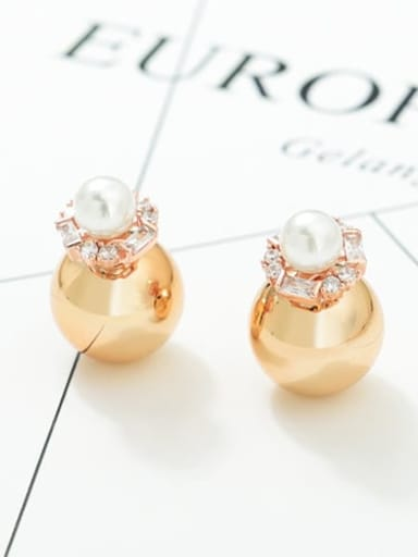 Gold rose gold t03b17 Copper Cubic Zirconia Round Ball Minimalist Stud Earring