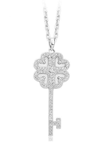 Copper Cubic Zirconia Minimalist Key pendant  Necklace