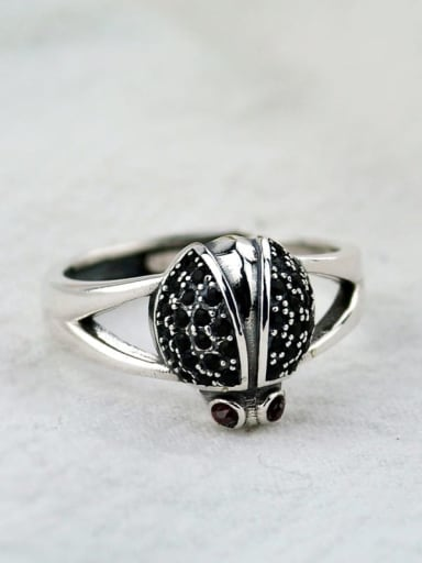 Vintage Sterling Silver With Antique Silver Plated Cute Ladybug  Free Size Rings