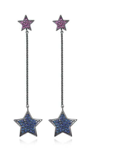 Copper Cubic Zirconia Star Vintage Threader Earring