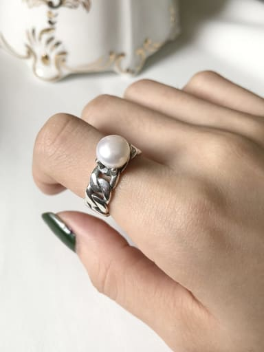 925 Sterling Silver  Imitation Pearl Simple Retro  Free Size Rings