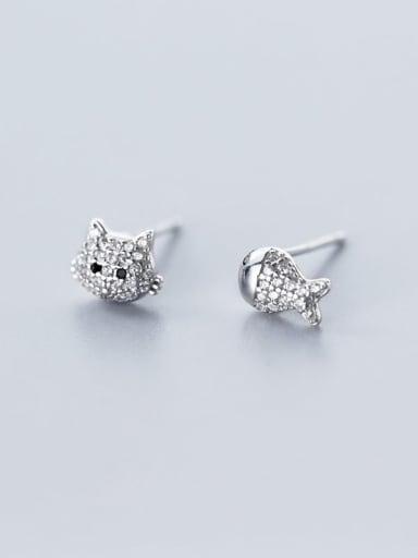 925 Sterling Silver Rhinestone  Cat Cute Stud Earring