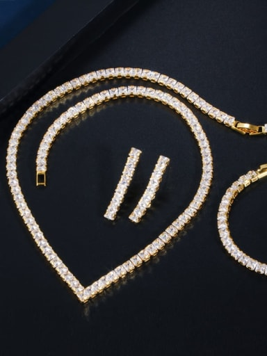 Gold three piece set Copper  Luxury Square Cubic Zirconia Earring Braclete and Necklace Set