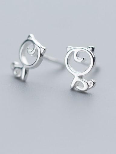 925 Sterling Silver Hollow Cat Minimalist Stud Earring