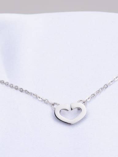 silvery Titanium Smooth Hollow Heart Necklace